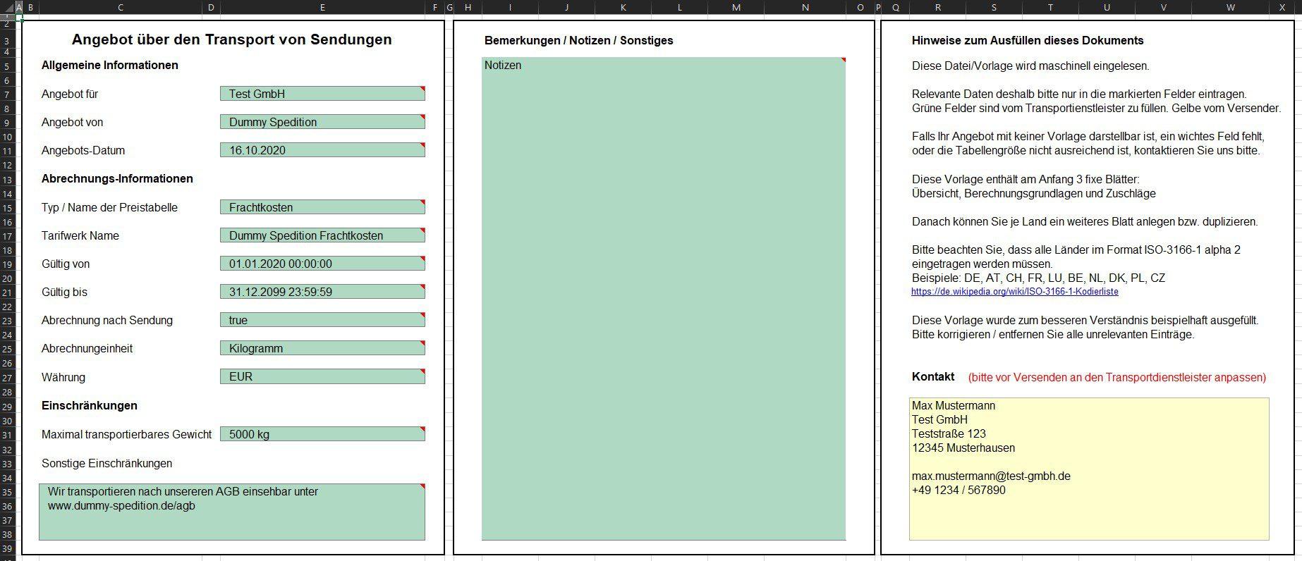 Übersichtsseite einer Beispiel Excel Datei